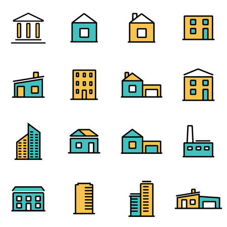 Trendy flat line icon pack for designers and developers. Vector line buildings icon set, buildings icon object, buildings icon picture, buildings icon image - stock vector Illustration