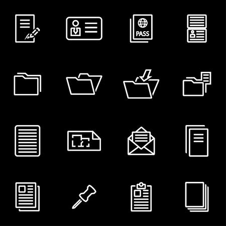 documentos: Conjunto del icono de documento de líneas de vector. Icono de objetos de documento, icono de documento de imagen, documento de imagen de iconos - vector stock Vectores