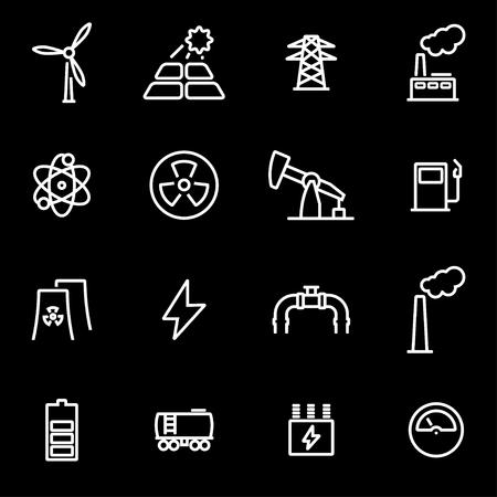 Vector line energetics icon set. Energetics Icon Object, Energetics Icon Picture, Energetics Icon Image - stock vector