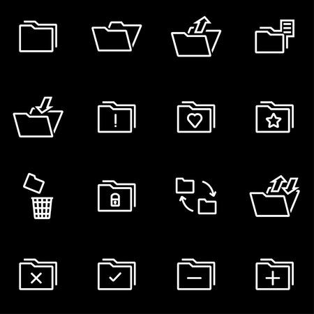 folder icons: Vector line folder icon set. Folder Icon Object, Folder Icon Picture, Folder Icon Image - stock vector