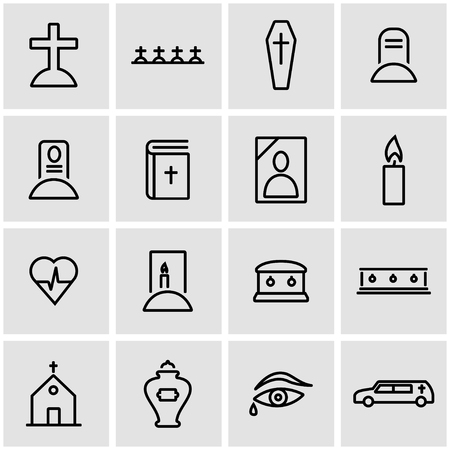 funeral: Vector line funeral icon set. Funeral Icon Object, Funeral Icon Picture, Funeral Icon Image - stock vector