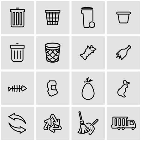 recycling symbols: Vector line garbage icon set. Garbage Icon Object, Garbage Icon Picture, Garbage Icon Image - stock vector Illustration
