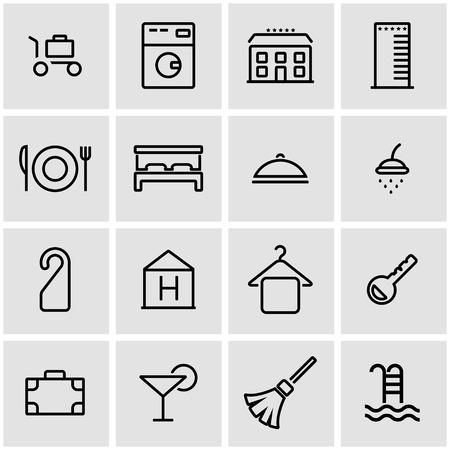 hotel rooms: Vector line hotel icon set. Hotel Icon Object, Hotel Icon Picture, Hotel Icon Image - stock vector Illustration