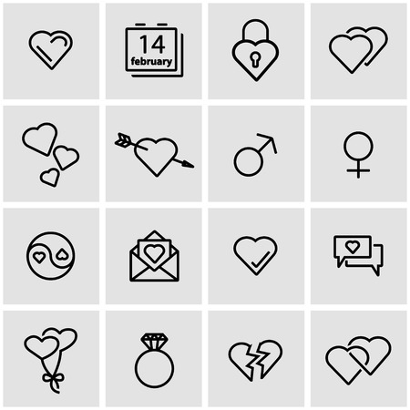 love image: Vector line love icon set. Love Icon Object, Love Icon Picture, Love Icon Image - stock vector