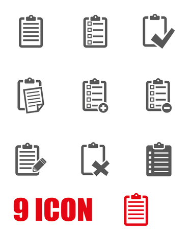 list: Vector grey check list icon set. Check List Icon Object, Check List Icon Picture, Check List Icon Image - stock vector
