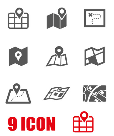 Vector black map icon set. Map Icon Object, Map Icon Picture, Map Icon Image - stock vector Illustration
