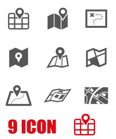 Vecteur carte en noir icon set. Map Icon objet, Map Icon Photo, Carte Icône Image - Image vectorielle