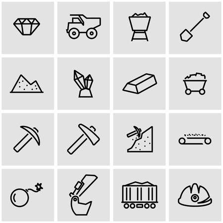 mining: establece líneas de vector icono de la minería. Minería Icono Objeto, Minería icono de imagen, icono de la minería imagen - vector stock Vectores