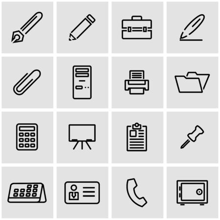 office icon: Vector line office icon set. Office Icon Object, Notes Icon Picture, Notes Icon Image - stock vector Illustration