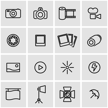 Vector line photo icon set. Photo Icon Object, Photo Icon Picture, Photo Icon Image - stock vector Illustration