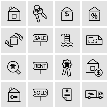 rent: Vector line real estate icon set. Real Estate Icon Object, Real Estate Icon Picture, Real Estate Icon Image - stock vector