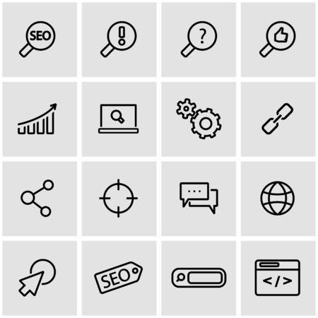 keywords link: Vector line seo icon set. Seo Icon Object, Seo Icon Picture, Seo Icon Image - stock vector