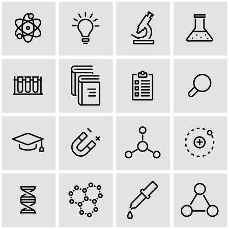 study icon: Vector line science icon set. Science Icon Object, Science Icon Picture, Science Icon Image - stock vector