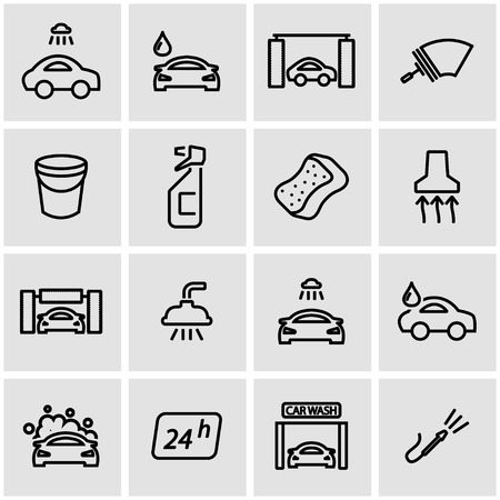 stock car: Vector line car wash icon set. Car Wash Icon Object, Car Wash Icon Picture, Car Wash Icon Image - stock vector Illustration