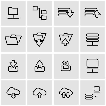 dropbox: Vector line ftp icon set. Ftp Icon Object, Ftp Icon Picture, Ftp Icon Image - stock vector