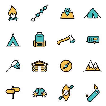 Trendy vlakke lijn icon pack voor ontwerpers en ontwikkelaars. Vector lijn camping icon set, kamperen pictogram object, camping pictogram, beeld icon camping - voorraad vector