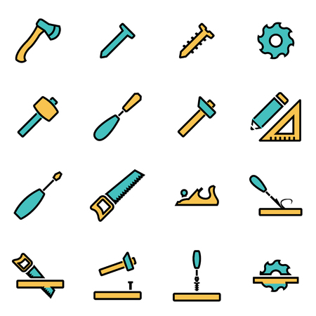 forestry: Trendy flat line icon pack for designers and developers. Illustration