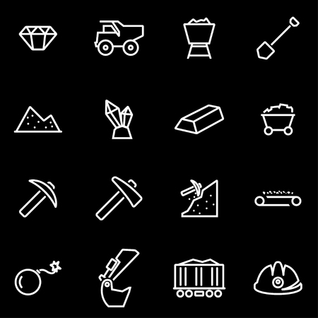 mining equipment: Vector line mining icon set.