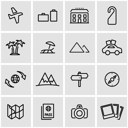 travel icon: Vector line travel icon set. Travel Icon Object, Travel Icon Picture, Travel Icon Image - stock vector