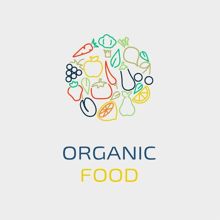 vegetarians: Vector logo design template with fruit and vegetable icons in trendy linear style - abstract emblem for organic food, healthy food store or vegetarian cafe