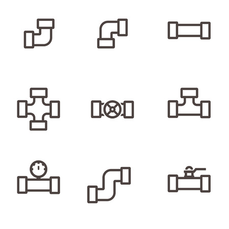 fittings: Vector line  pipe fittings icon set. Pipeline sign