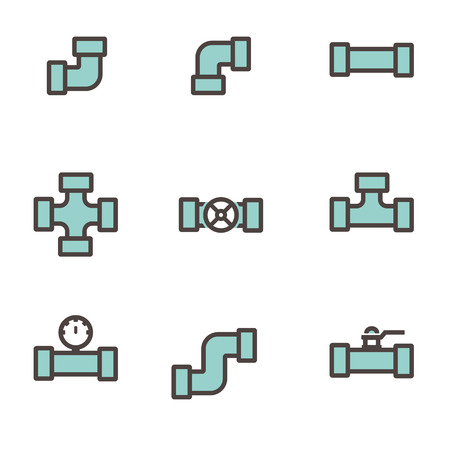 fittings: Vector line flat pipe fittings icon set. Pipeline sign Illustration