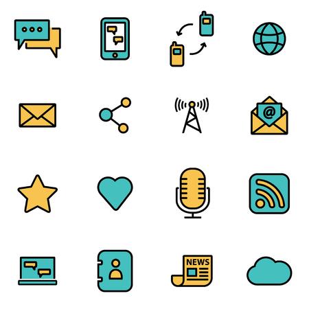 paquete de moda icono de la línea plana para los diseñadores y desarrolladores. conjunto de líneas de vector icono de la comunicación, la comunicación del icono del objeto, icono de la comunicación, imagen icono de la comunicación - Imagen vectorial