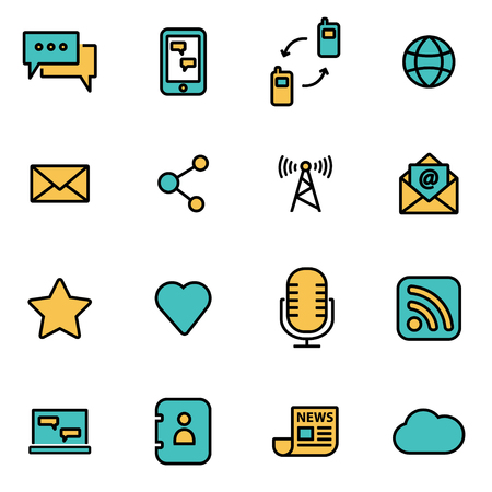 communication icons: Trendy flat line icon pack for designers and developers. Vector line communication icon set, communication icon object, communication icon picture, communication icon image - stock vector Illustration