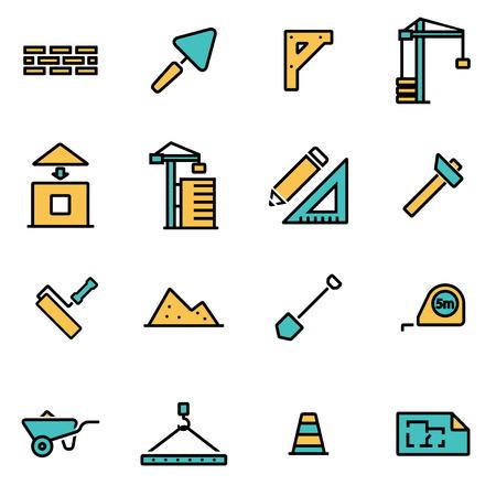 Moderno paquete de iconos de líneas planas para diseñadores y desarrolladores. Conjunto de iconos de construcción de línea de vector, objeto de icono de construcción, imagen de icono de construcción, imagen de icono de construcción - vector stock