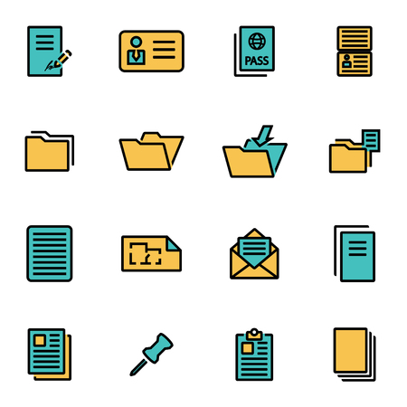 document icon: Trendy flat line icon pack for designers and developers. Vector line document icon set, document icon object, document icon picture, document icon image - stock vector Illustration