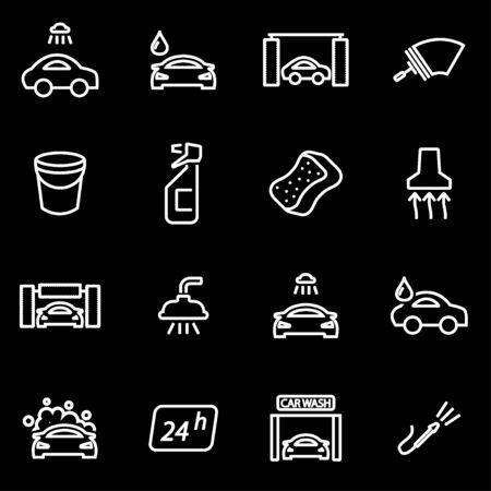 car wash: Vector line car wash icon set. Car Wash Icon Object, Car Wash Icon Picture, Car Wash Icon Image - stock vector Illustration