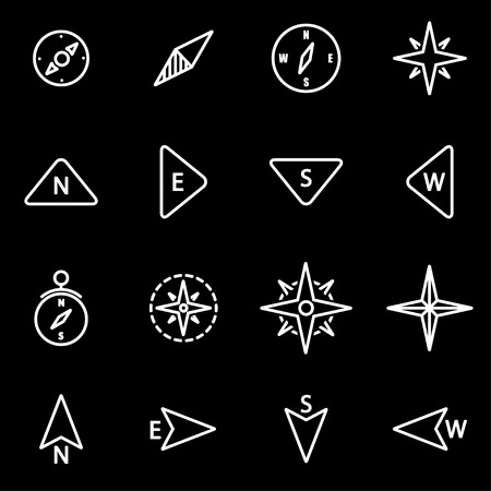 brujula: establece l�neas de vector icono de br�jula. Icono de la br�jula de objetos, br�jula icono de la imagen, la br�jula de imagen de iconos - vector stock