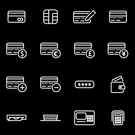 picture card: Vector line credit card icon set. Credit Card Icon Object, Credit Card  Icon Picture, Credit Card  Icon Image - stock vector Illustration