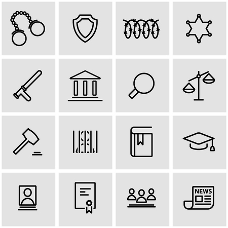 scales of justice: Vector line justice icon set. Justice Icon Object, Justice Icon Picture, Justice Icon Image - stock vector Illustration