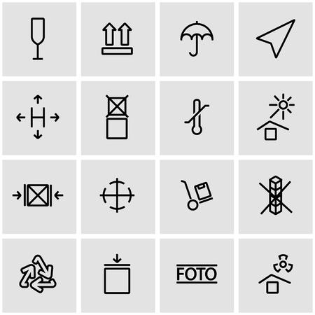 marking: Vector line marking of cargo icon set. Marking of Cargo Icon Object, Marking of Cargo Icon Picture, Marking of Cargo Icon Image - stock vector