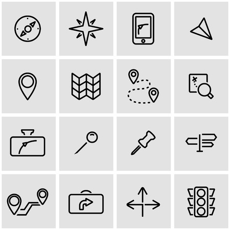 navegacion: establece líneas de vector icono de navegación. Navegación Icono de objetos, de navegación icono de la imagen, la navegación de imagen de iconos - vector stock