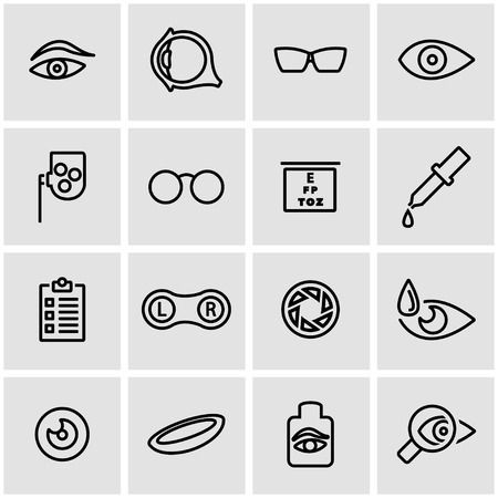 contact icon: Vector line optometry icon set. Optometry Icon Object, Optometry Icon Picture, Optometry Icon Image - stock vector