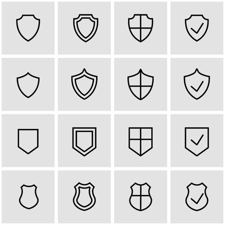 establece líneas de vector icono de escudo. Icono de escudo de objetos, escudo icono de imagen, escudo de imagen de iconos - vector stock