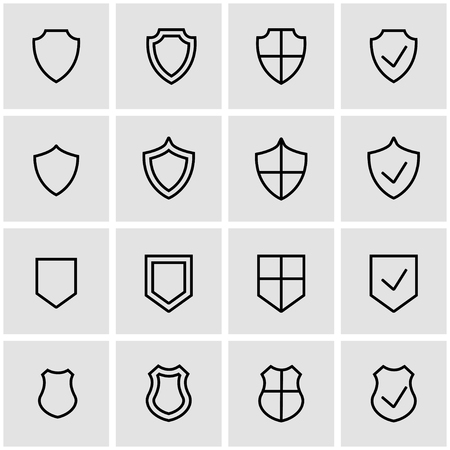 shield set: Vector line shield icon set. Shield Icon Object, Shield Icon Picture, Shield Icon Image - stock vector