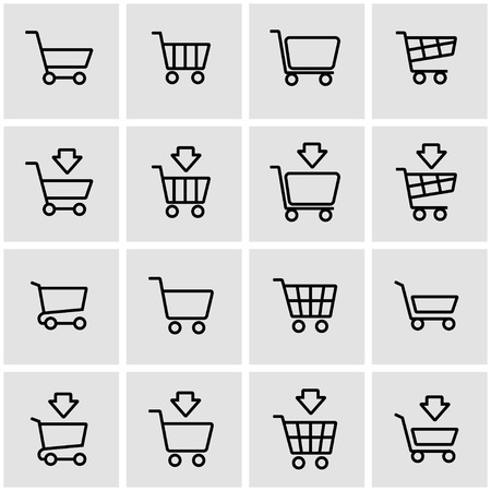 Vector line shopping cart icon set. Shopping Cart Icon Object, Shopping Cart Icon Picture, Shopping Cart Icon Image - stock vector Illustration