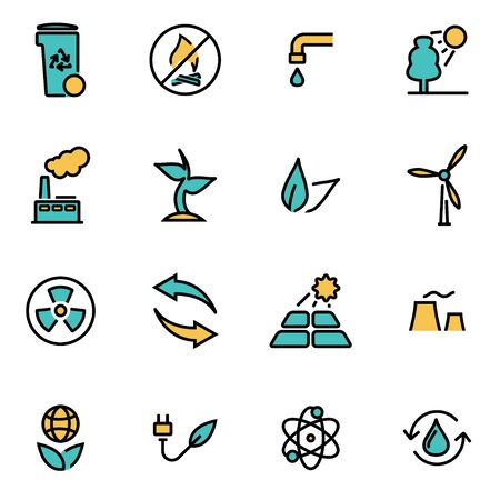 developers: Trendy flat line icon pack for designers and developers. Vector line eco set, eco icon object, eco icon picture, eco icon image - stock vector