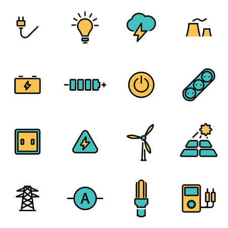 wind icon: Trendy flat line icon pack for designers and developers. Vector line electricity set, electricity icon object, electricity icon picture, electricity icon image - stock vector