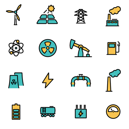 energetics: Trendy flat line icon pack for designers and developers. Vector line energetics set, energetics icon object, energetics icon picture, energetics icon image - stock vector