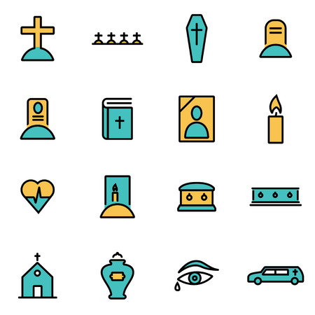 funeral: Trendy flat line icon pack for designers and developers. Vector line funeral set, funeral icon object, funeral icon picture, funeral icon image - stock vector