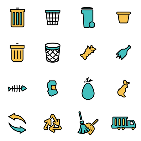 garbage: Trendy flat line icon pack for designers and developers. Vector line garbage set, garbage icon object, garbage icon picture, garbage icon image - stock vector Illustration