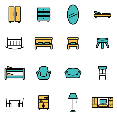 modern furniture: Trendy flat line icon pack for designers and developers. Vector line furniture set, furniture icon object, furniture icon picture, furniture icon image - stock vector