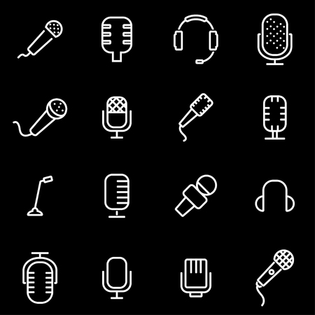 webcast: Vector line microphone icon set. Microphone Icon Object, Microphone Icon Picture, Microphone Icon Image - stock vector Illustration