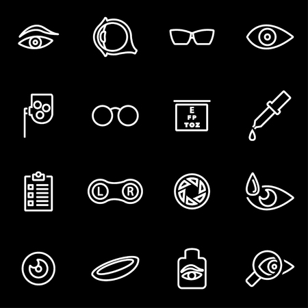 contact lens: Vector line optometry icon set. Optometry Icon Object, Optometry Icon Picture, Optometry Icon Image - stock vector