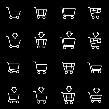 shopping cart icon: Vector line shopping cart icon set. Shopping Cart Icon Object, Shopping Cart Icon Picture, Shopping Cart Icon Image - stock vector Illustration