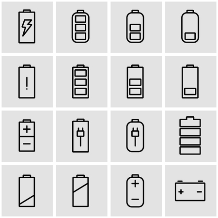 solar battery: Vector line battery icon set. Battery Icon Object, Battery Icon Picture, Battery Icon Image - stock vector Illustration